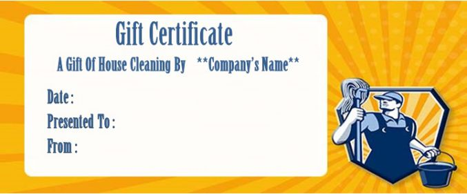 House cleaning gift certificate free