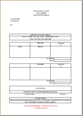 Independent Contract work Invoice
