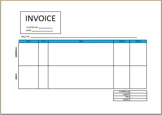 Independent Contractor Invoice sample