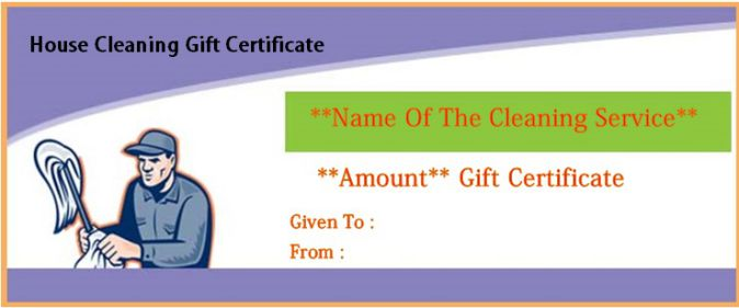 Maid Service gift Certificate