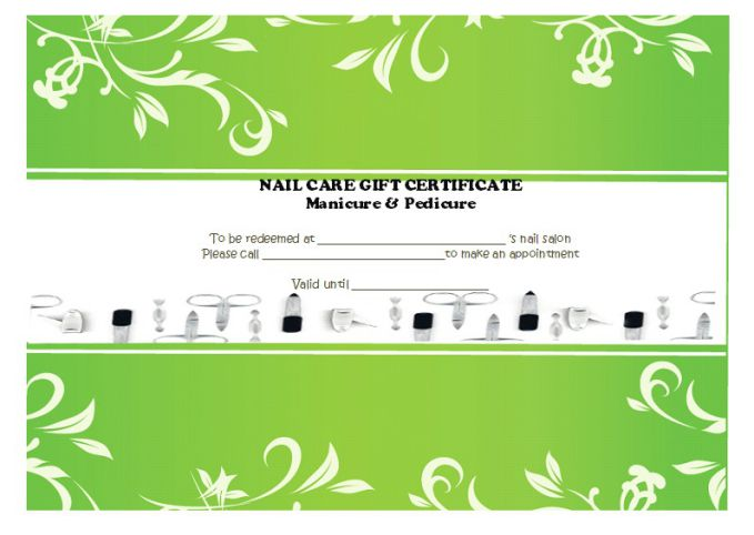 Manicure pedicure gift certificates