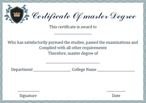 Master degree diploma certificate template