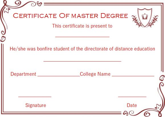 Master degree diploma certificate templates
