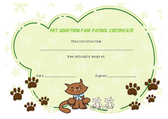 Pet adoption paw patrol certificate