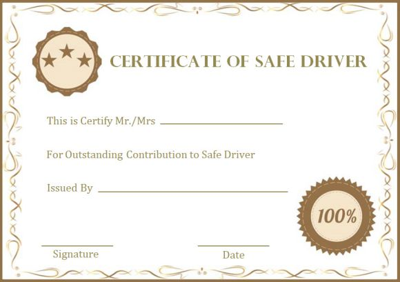 Safe Driver Certificate