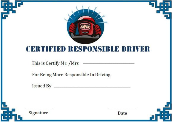 Safe Driver Certificate Of Merits