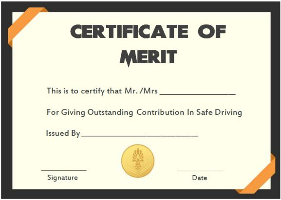 Safe Driver Certificate Of Meritss