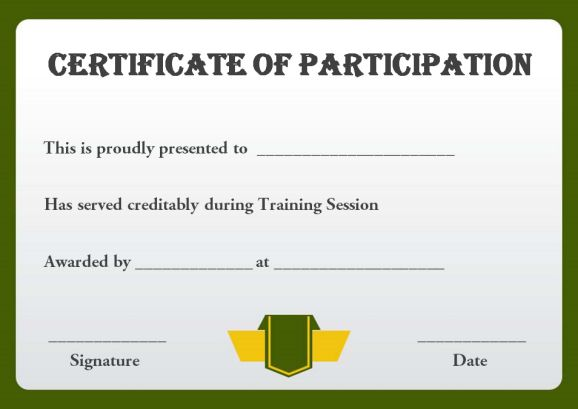 Sample training participation certificate template