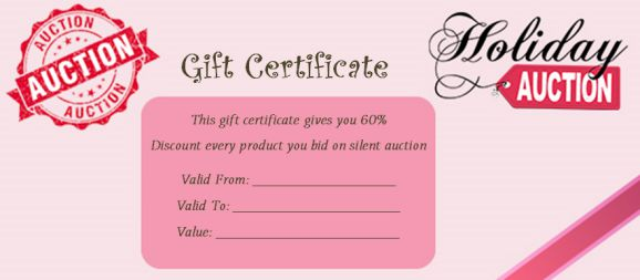 Silent Auction Gift Certificate free