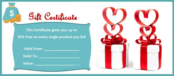 Silent Auction Gift Certificate sample