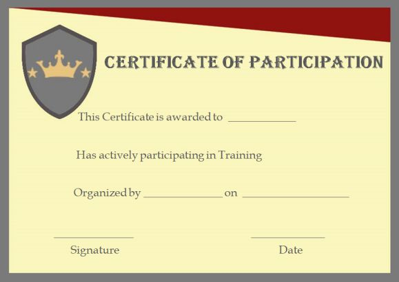 Training participation certificate format template