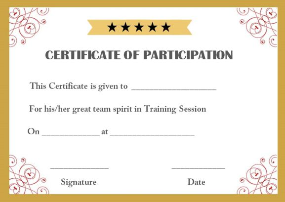 Training participation certificate template