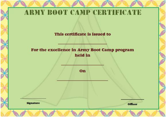 army boot camp certificate