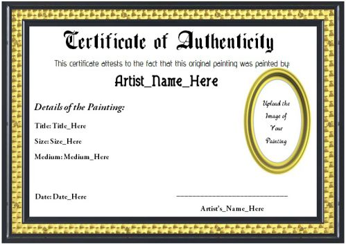 Art Certificate Of Authenticity Template