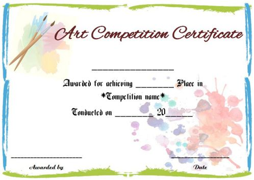 Art Competition Certificate Sample