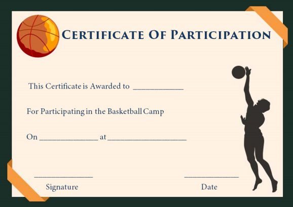 Basketball camp participation certificates