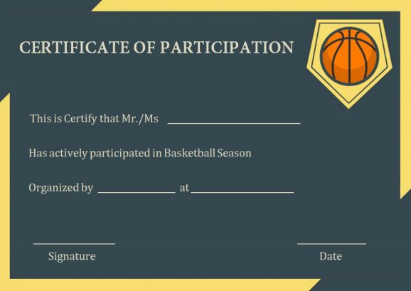 basketball certificate of participation