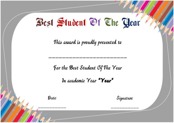 best student of the year award certificate