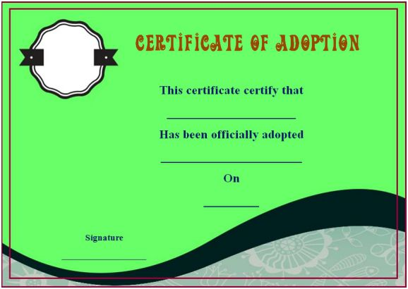 blank adoption certificate templates