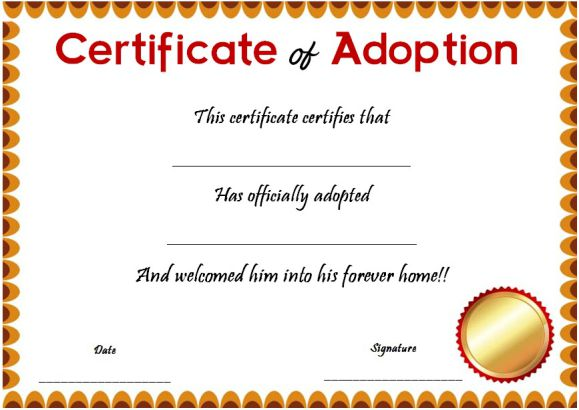 blank certificate of adoptions