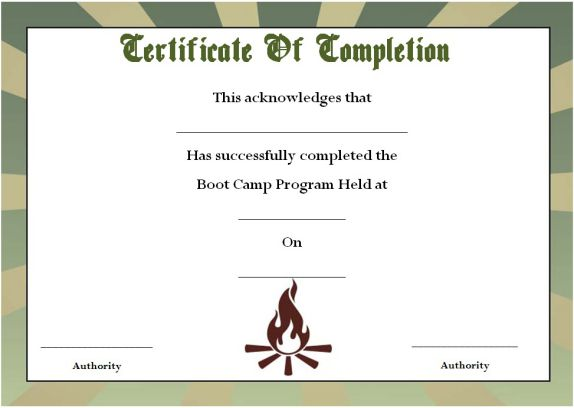 boot camp certificate of completion