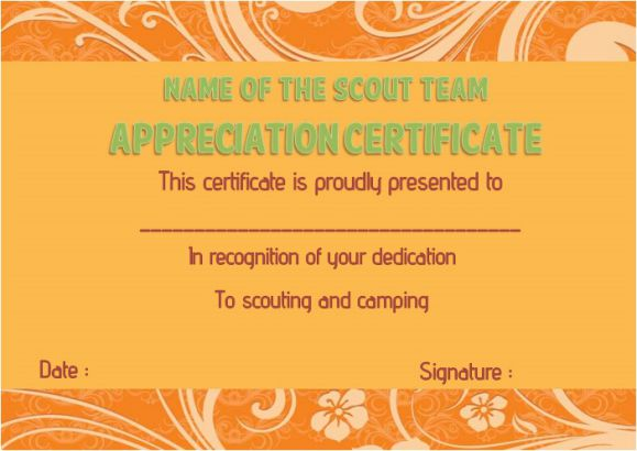 Boy scout thank you certificate