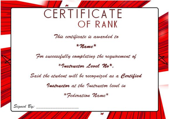 Certificate Of Martial Arts Instructor
