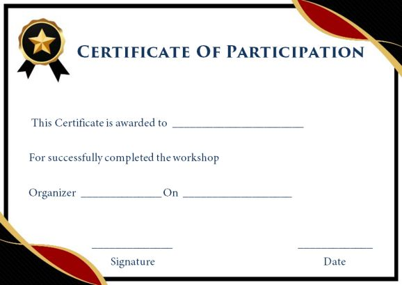 Certificate for participation in workshop