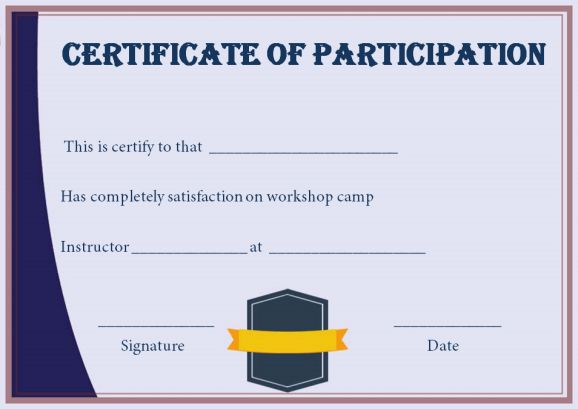 Certificate For Participation In Workshop Template