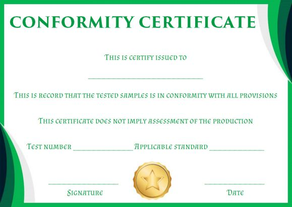 certificate of conformity sample template