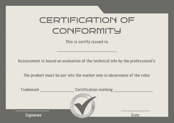 certificate of conformity sample templates