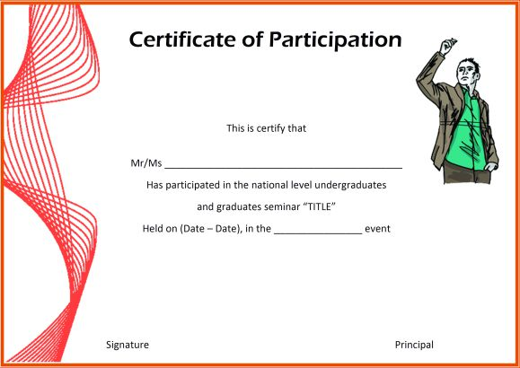 Certificate of Partcipation in Seminar