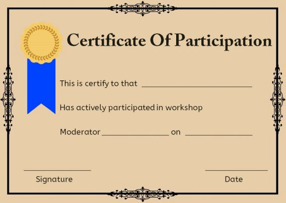 Certificate Of Participation For Workshop