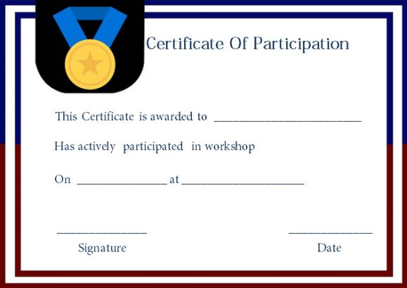 Certificate Of Participation For Workshop Template