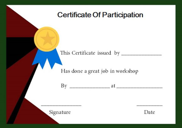 Certificate Of Participation In A Workshop Template