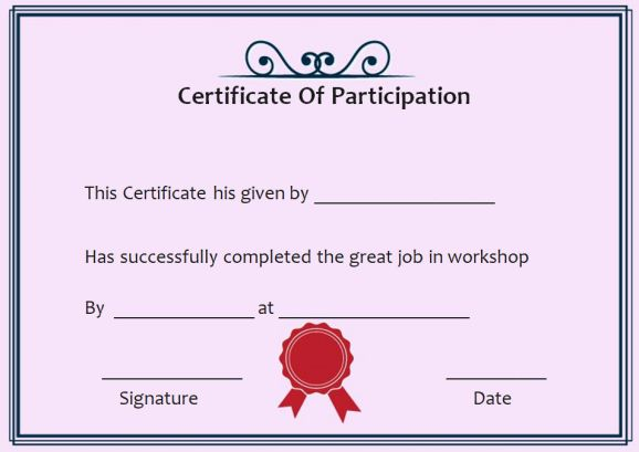 Certificate Of Participation In The Workshop
