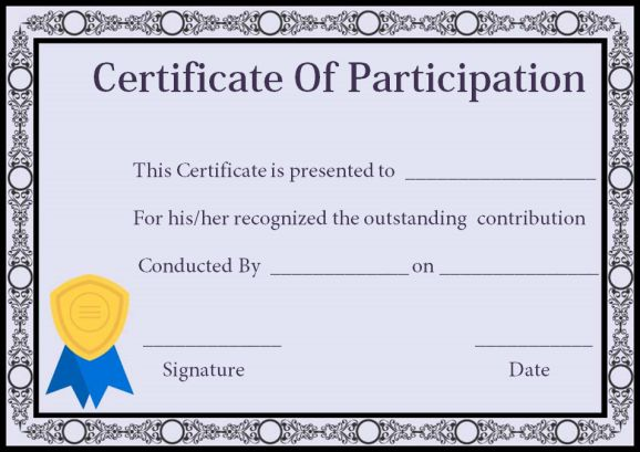 Certificate Of Participation In workshop Templates