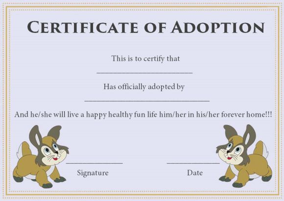 certificate of pet adoption template