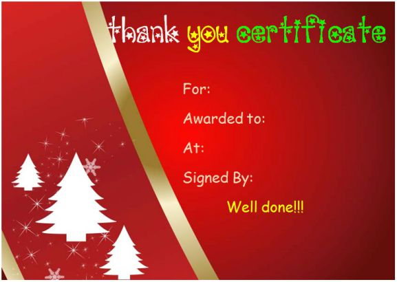 christmas thank you certificate
