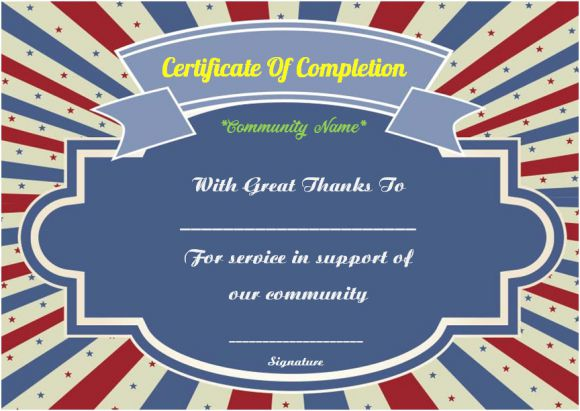 Community service certificate of completion template
