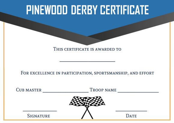 cub scout pinewood derby certificate templates