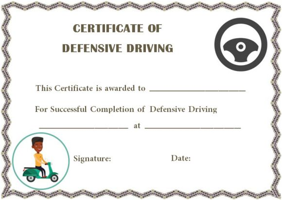 defensive driving certificate of completions