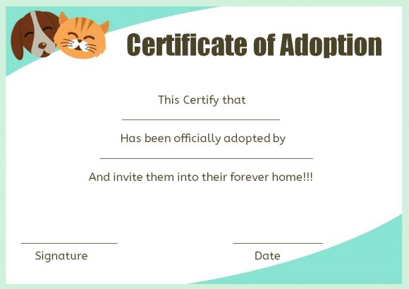 dog adoption certificate printable