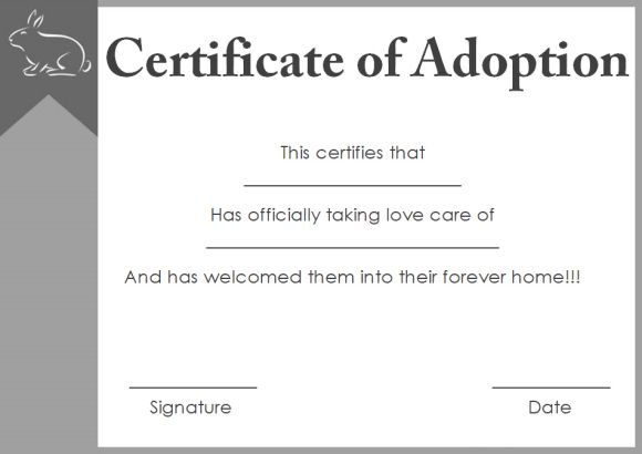 dog adoption certificate template free