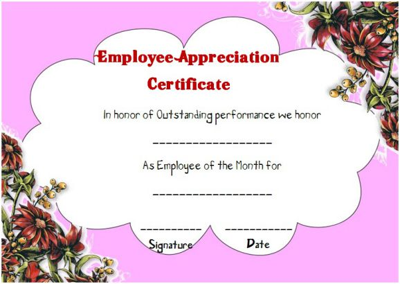 employee thank you certificate template