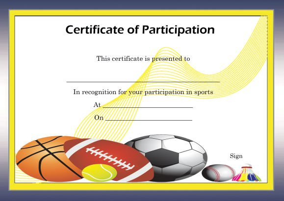 Free Certificate of Partcipation Template Sports
