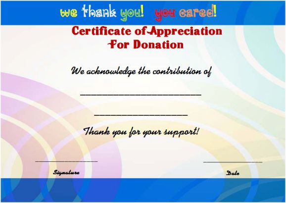 fundraising thank you certificate template