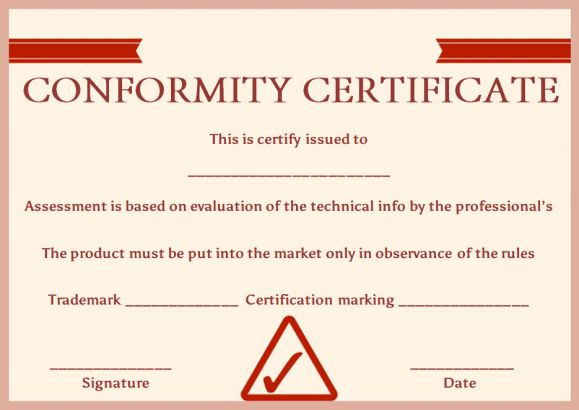 manufacturing certificate of conformance template