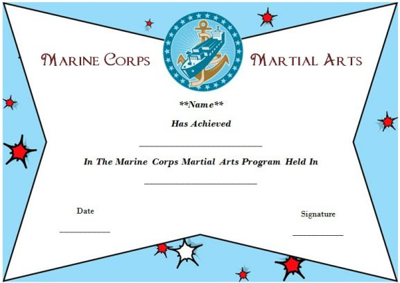 marine corps martial arts certificate template