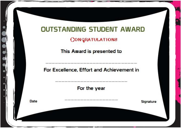 outstanding student of the year award